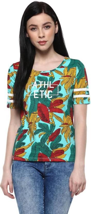 Ajile by Pantaloons Printed Women's Round Neck Green T-Shirt