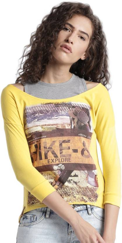 1bead8efe415 Roadster Printed Women's Round Neck Yellow, Grey T-Shirt - Buy Roadster  Printed Women's Round Neck Yellow, Grey T-Shirt Online at Best Prices in  India ...