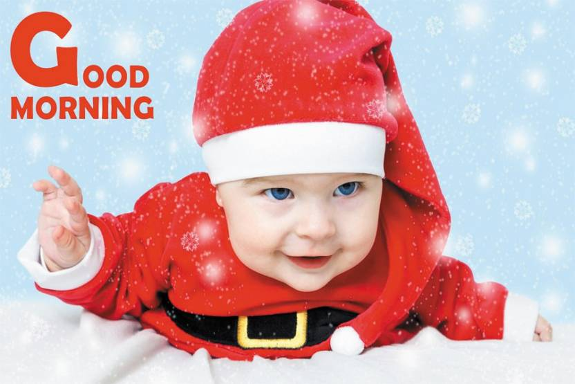 Dakshita Good Morning With Sweet Santa Baby Poster 12x18 Paper