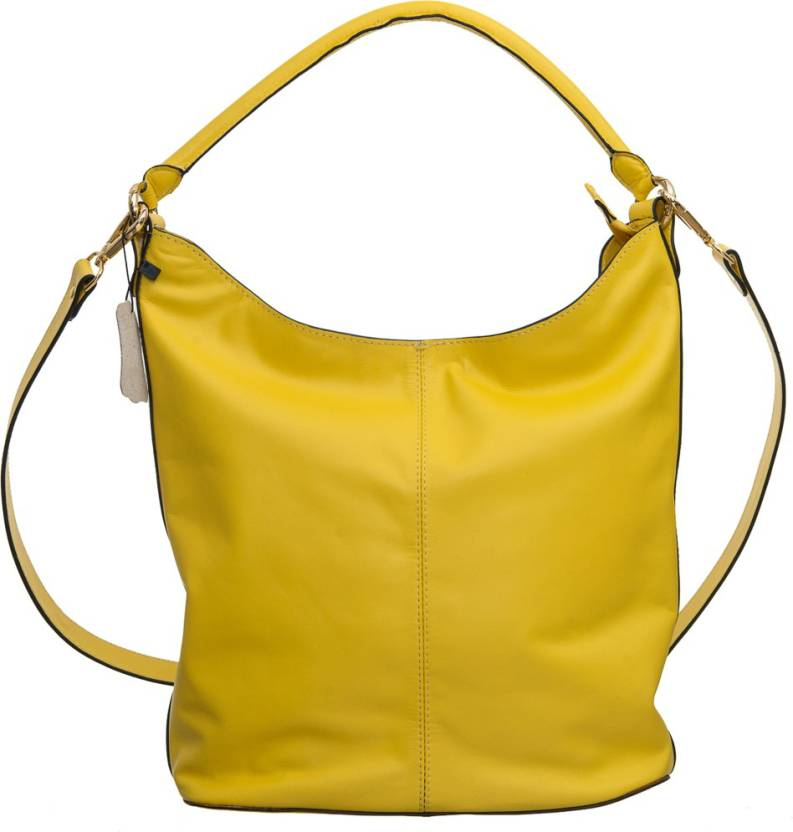 Miles London Women Yellow Genuine Leather Hobo