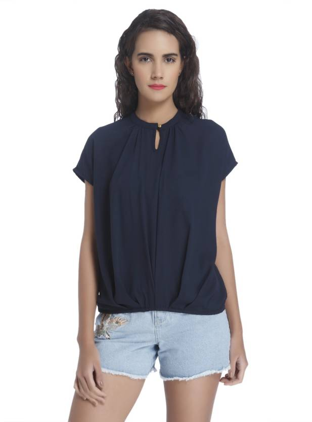 3dc136780 Vero Moda Casual Short Sleeve Solid Women s Blue Top - Buy Vero Moda Casual  Short Sleeve Solid Women s Blue Top Online at Best Prices in India