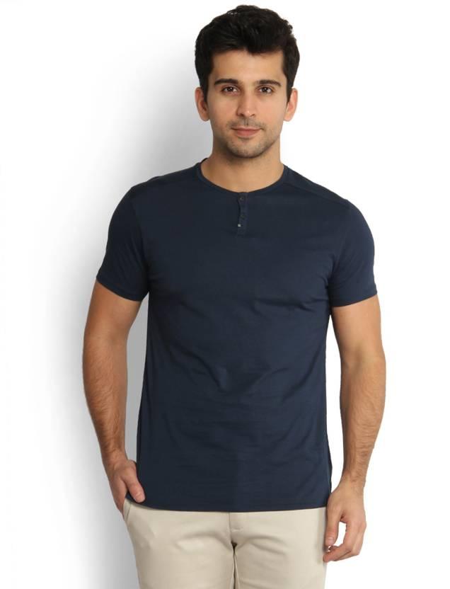 1742e167 Blackberrys Solid Men's Henley Dark Blue T-Shirt - Buy Navy ...