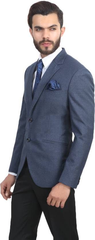ManQ Solid Single Breasted Wedding, Formal Boy's Blazer (Blue)