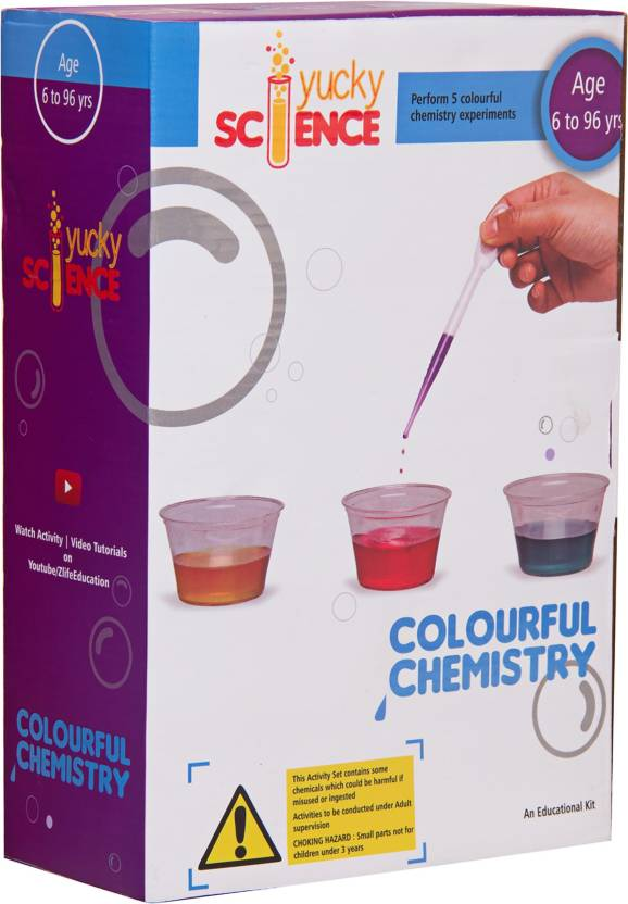 Yucky Science COLOURFUL CHEMISTRY Kit   Perform 5 Cool Color Experiments   FUN SCIENCE KIT for Boys and Girls  Age 6- 8 Years , 9 - 12 Years Kids