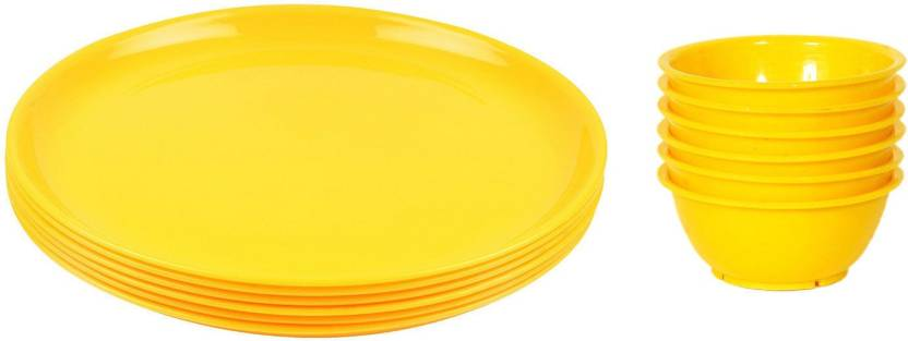 Royaldeal Microwave Safe Plastic Plates Pack Of 6 And Bowl Set 12 Pieces Plate