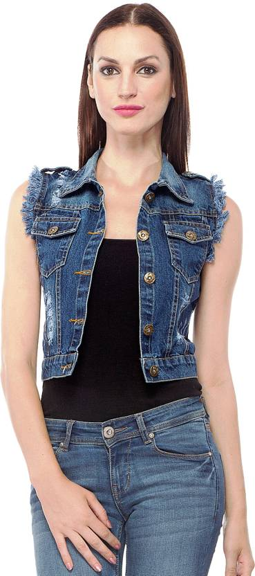 Clo Clu Sleeveless Self Design Women's Denim Jacket