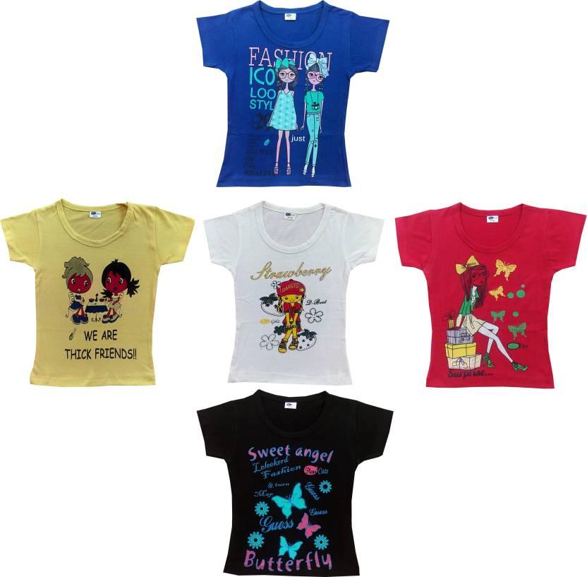 4cc031acb801 Flexi Girls Printed Cotton T Shirt Price in India - Buy Flexi Girls ...