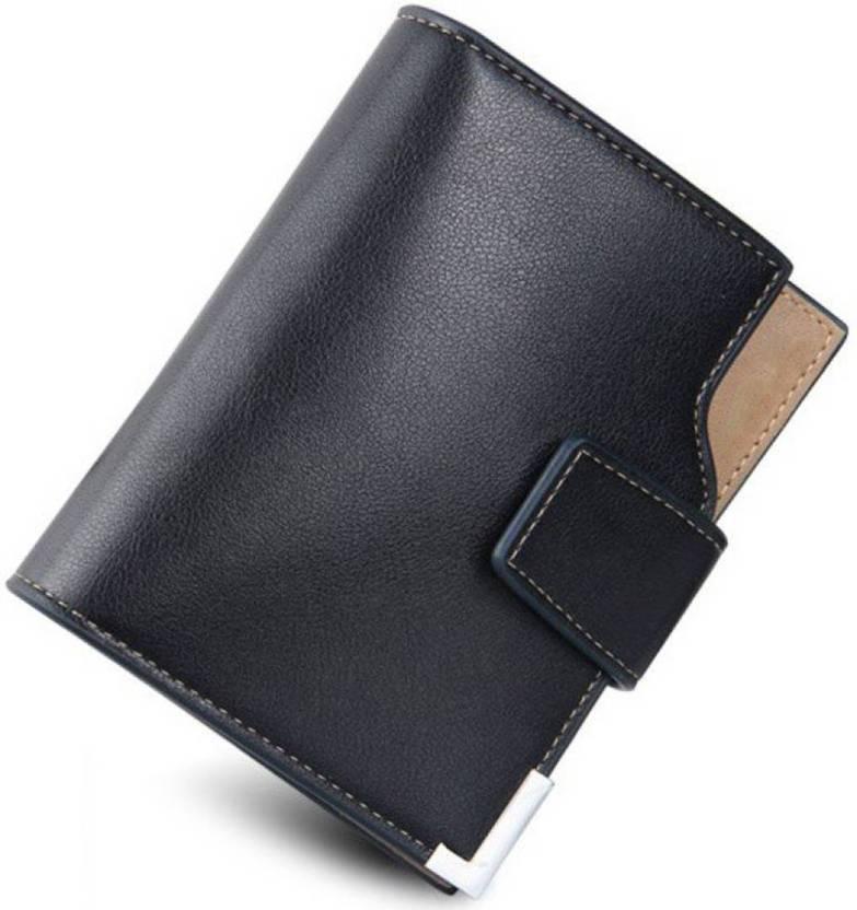 Taslar Men Formal Black Genuine Leather Wallet (9 Card Slots)