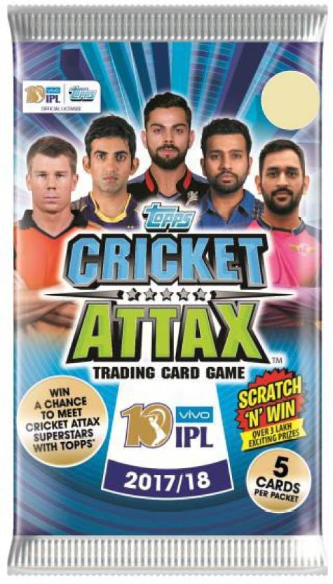 TOPPS INDIA CRICKET ATTAX 2017 FLOWPACK(30)(