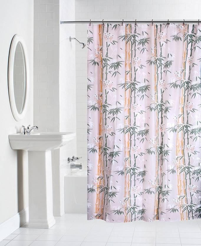 Yellow Weaves 213 Cm 18 Ft PVC Shower Curtain Single Floral Multicolor