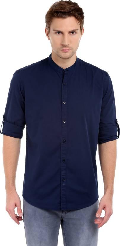 Dennis Lingo Mens Solid Casual Dark Blue Shirt