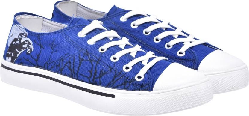 84d29e8027390 Walk Jump blue printed canvas shoes,casuals,printed Canvas Shoes For Men