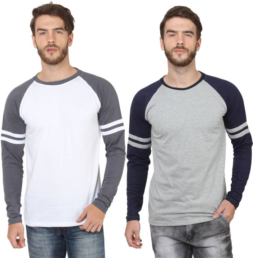 c42a1334c6cb SayItLoud Solid Men's Round Neck White, Grey, Grey, Blue T-Shirt (Pack of 2)