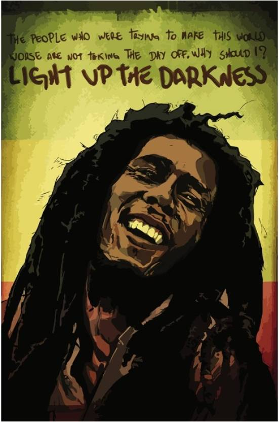 Bob Marley Light Up The Darkness Quote Poster Paper Print Music