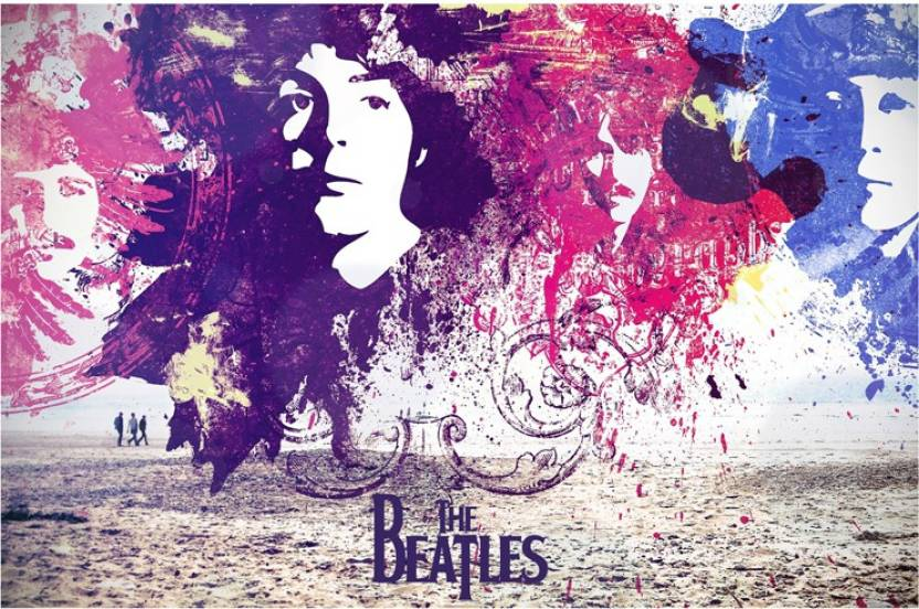 the beatles music band abstract art poster paper print music