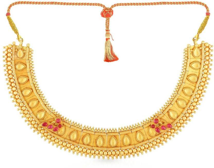 Malabar Gold and Diamonds BLRAAAABAPSY Choker Yellow Gold Precious ...