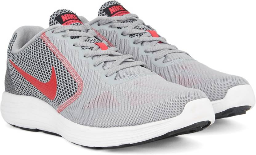 Nike REVOLUTION 3 Running Shoes For Men - Buy WOLF GREY   TRACK RED ... 9d79125c1