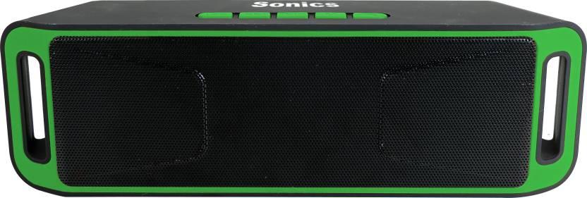 Sonics SL BS113 FM 10 W Portable Bluetooth  Speaker Green, Black, 2.1 Channel