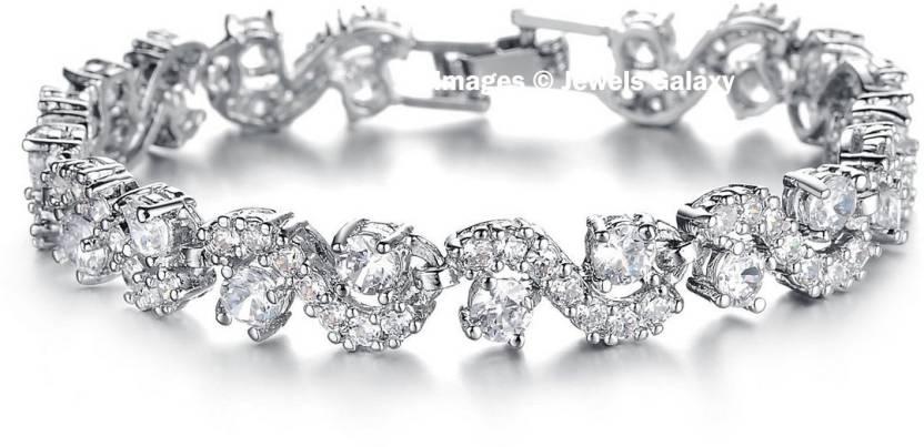 Jewels Galaxy Alloy Swarovski Crystal Platinum Charm Bracelet