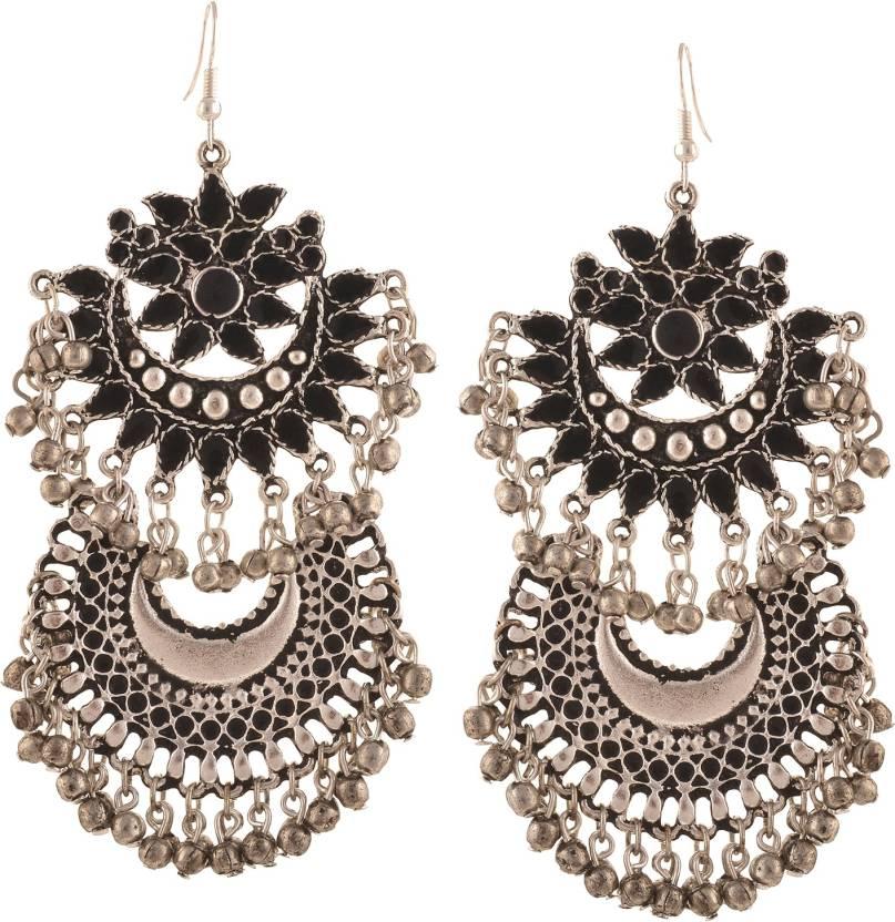 Zephyrr Fashion German Silver Afghani Tribal Dangler Hook Long Earrings Alloy Dangle Earring