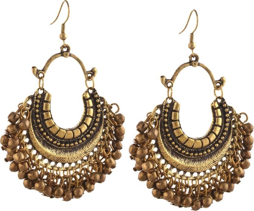 Flipkart Zephyrr Fashion German Silver Beaded Turkish Style Chandbali Earrings For Women Alloy Dangle Earring Online At Best Prices In India