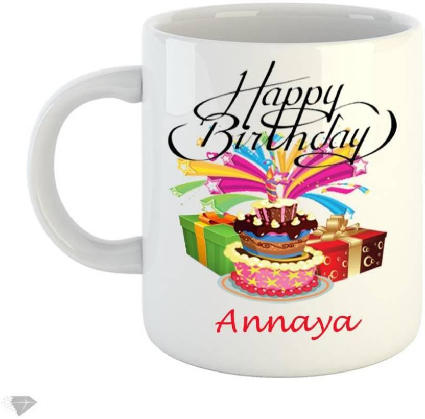 Reindeer Happy Birthday Annaya 350ml White Ceramic Ceramic Mug Price