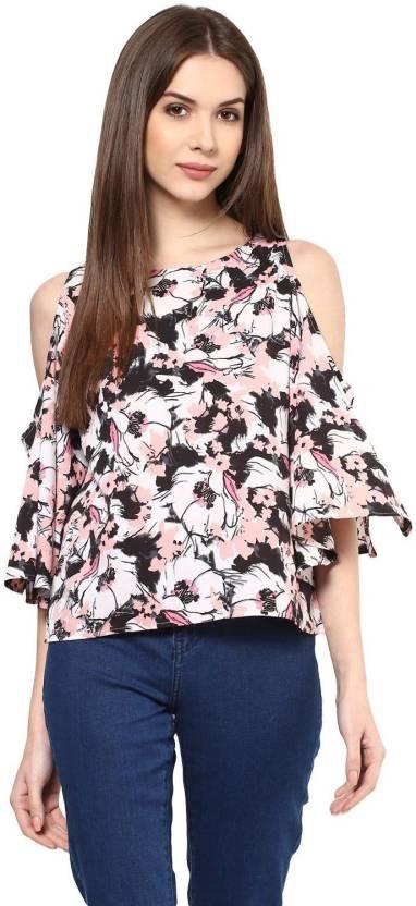 555b24747d2e2 Harpa Casual Cold Shoulder Floral Print Women s Multicolor Top - Buy ...