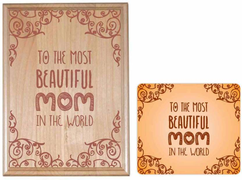 Giftsmate Birthday Gifts For Mother Most Beautiful Mom 12x18 Inches Engraved Plaque Showpiece Gift Set Price In India
