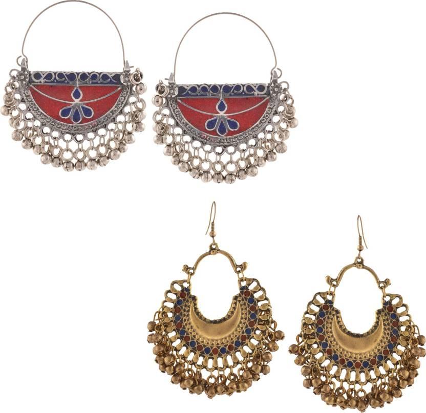 fc4d02653 Flipkart.com - Buy Zephyrr Fashion German Silver Afghani Beaded Chandbali Hoop  Earrings Combo of 2 Alloy Dangle Earring Online at Best Prices in India