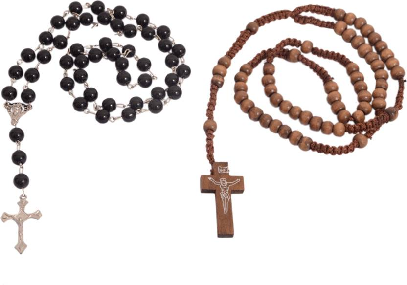 Afwan Brown Wooden Cross Beads Cross Wood Crystal Necklace Set