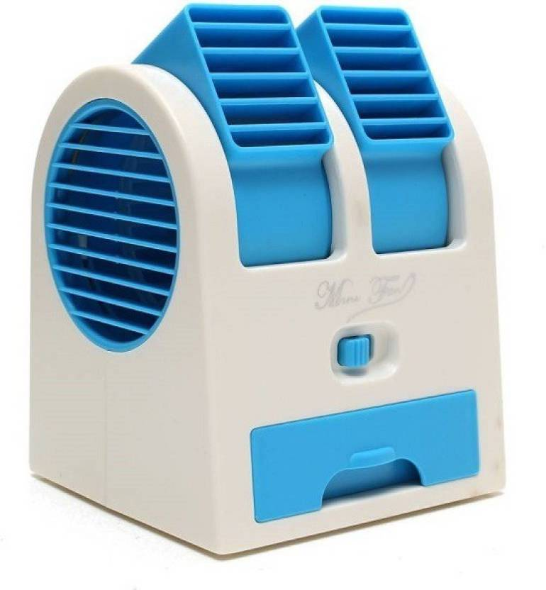 Mini Ac Cooling Fan Portable Double Blower Blue