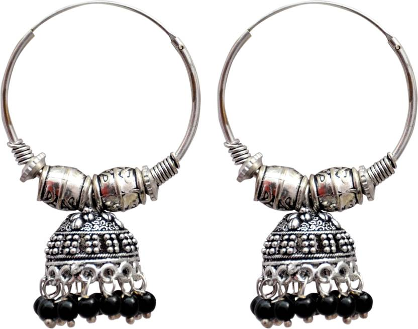Technuv Oxidized Silver Black Pearl Hoop Ring Jhumka Earring Alloy