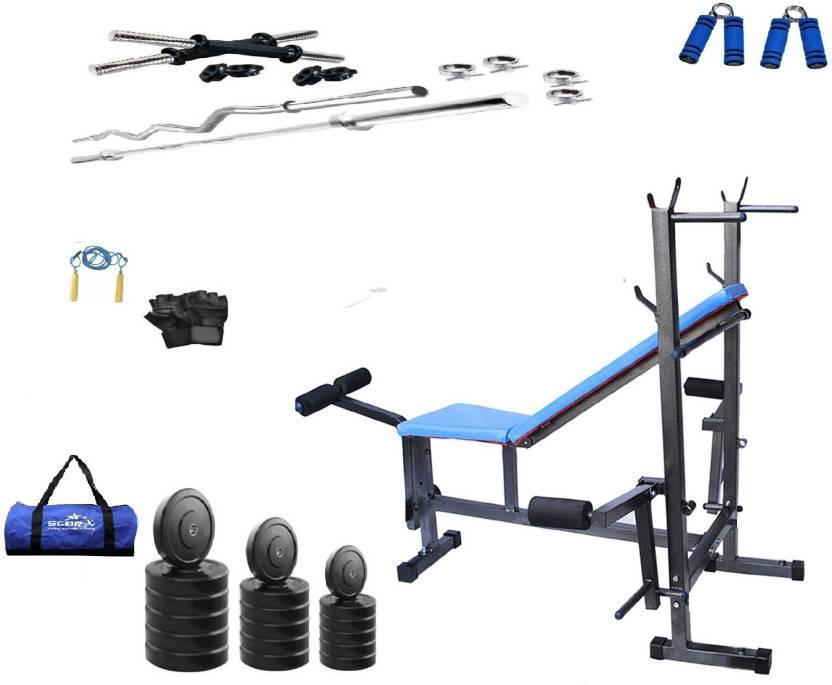 5d60129a934 Star X PVC s 100Kg s Home Gym Combo With 8 in 1 Exercise Bench Gym ( Black