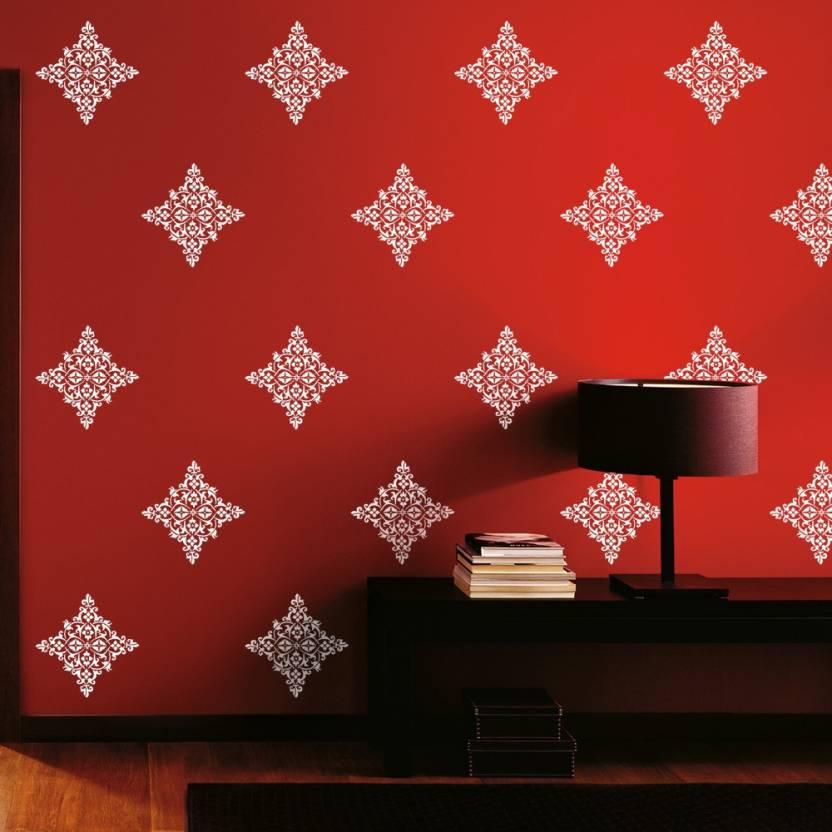 arhat stencils damask asr e175 glossy pvc wall décor art stencil