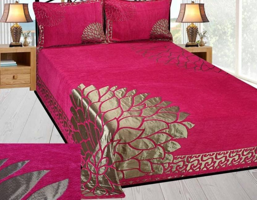 132abca367 Innovative Edge 250 TC Velvet Double King Embroidered Bedsheet (Pack of 1,  Pink)