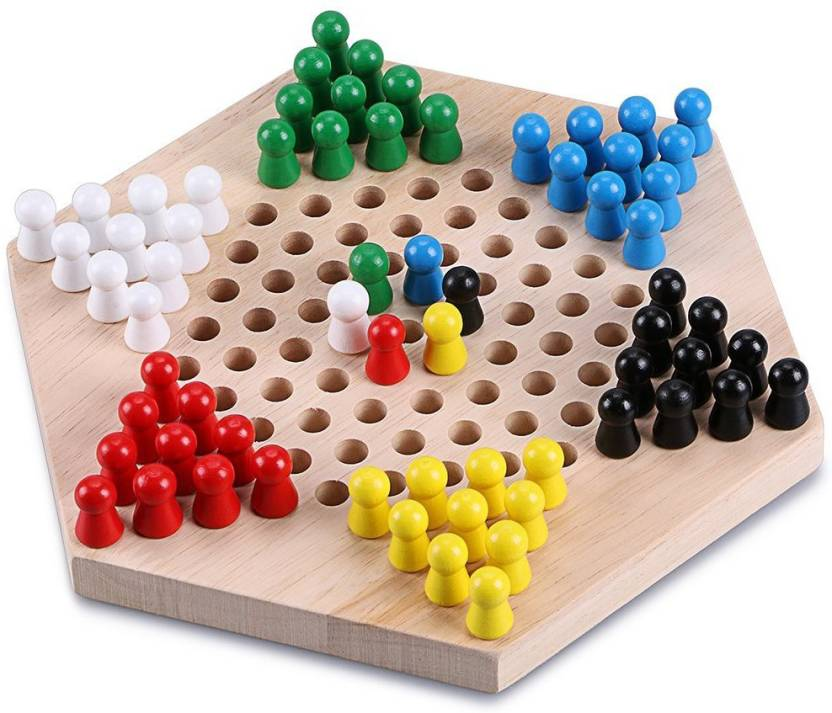 Trinkets More Wooden Chinese Checkers Hexagon Board With Wooden Marbles Board Games Superb Family Game Perfect Kids Gift Fun Toys 3 Years Board