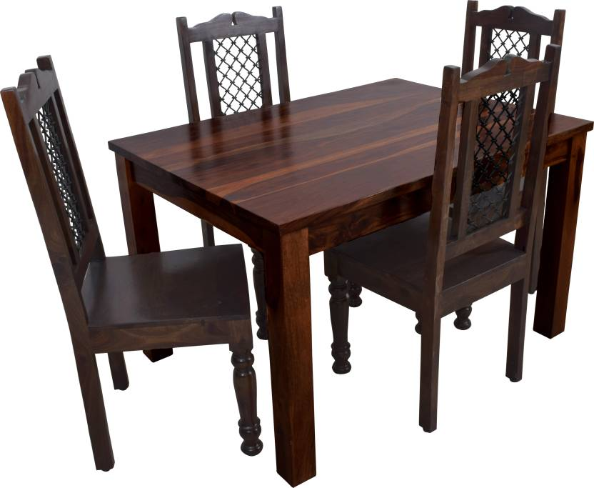 Induscraft Sheesham Wood Solid Wood 4 Seater Dining Set Finish Color   CHERRY