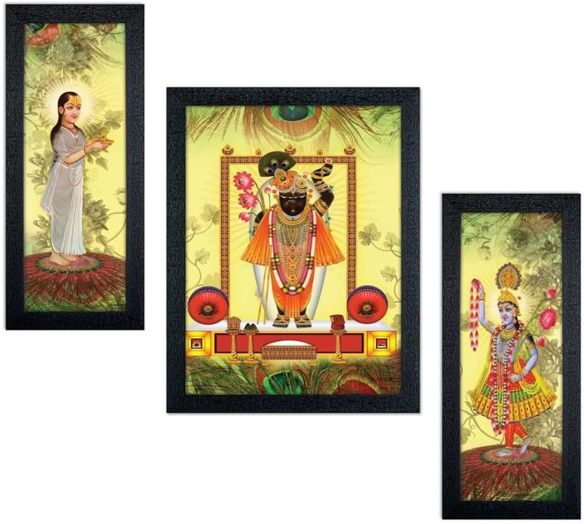Delight shreenathji yamunaji mahaprabhuji painting set of 3 canvas painting