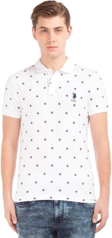 553d3184e U.S. Polo Assn Printed Men's Polo Neck White, Blue T-Shirt - Buy U.S. Polo  Assn Printed Men's Polo Neck White, Blue T-Shirt Online at Best Prices in  India ...
