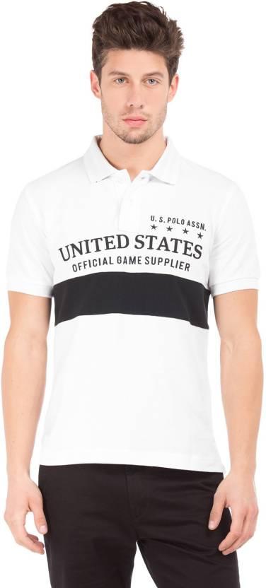 57b922af508 U.S. Polo Assn Printed Men s Polo Neck White
