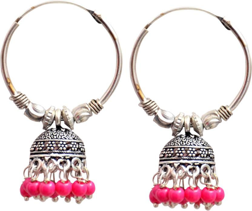 Technuv Oxidized Silver Pink Pearl Hoop Ring Jhumka Earring Small Alloy