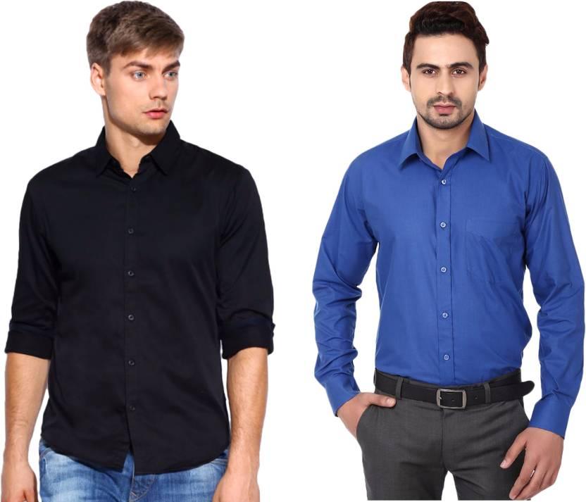 3865afe29912c Nirwe Men s Solid Casual Blue