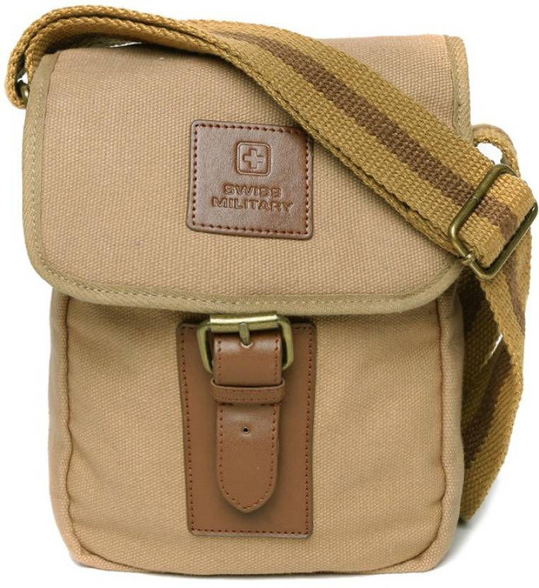 64a642cc1e Swiss Military Men   Women Casual Beige Canvas Sling Bag Brown - Price in  India