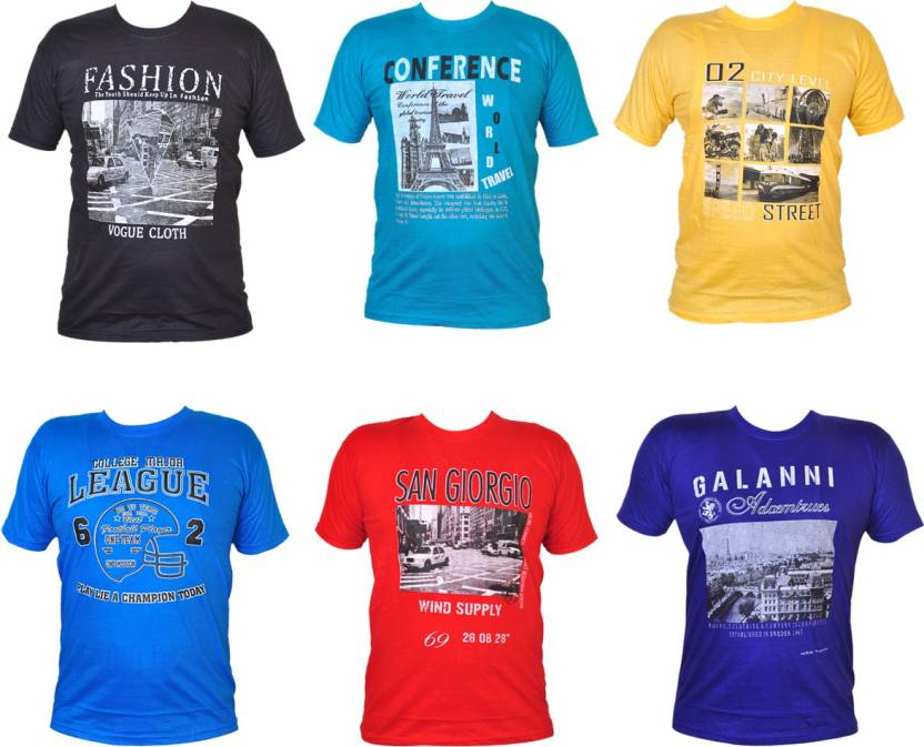 5606a672e Pari & Prince Typography Men's Round Neck Multicolor T-Shirt (Pack of 6)