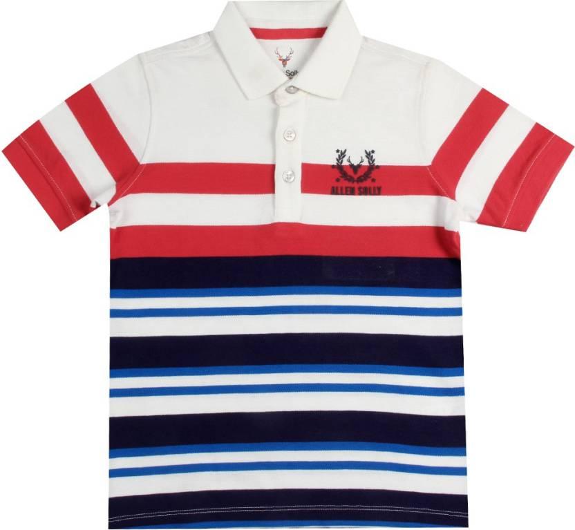 1621b7c68 Allen Solly Junior Boys Striped Cotton T Shirt Price in India - Buy ...