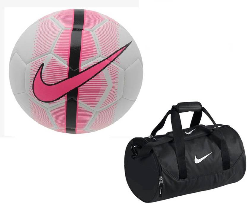 378bf24e70 Retail World Mercurial Veer White Pink Football (Size-5) with Gym Duffle Bag  Combo Football Kit - Buy Retail World Mercurial Veer White Pink Football ...