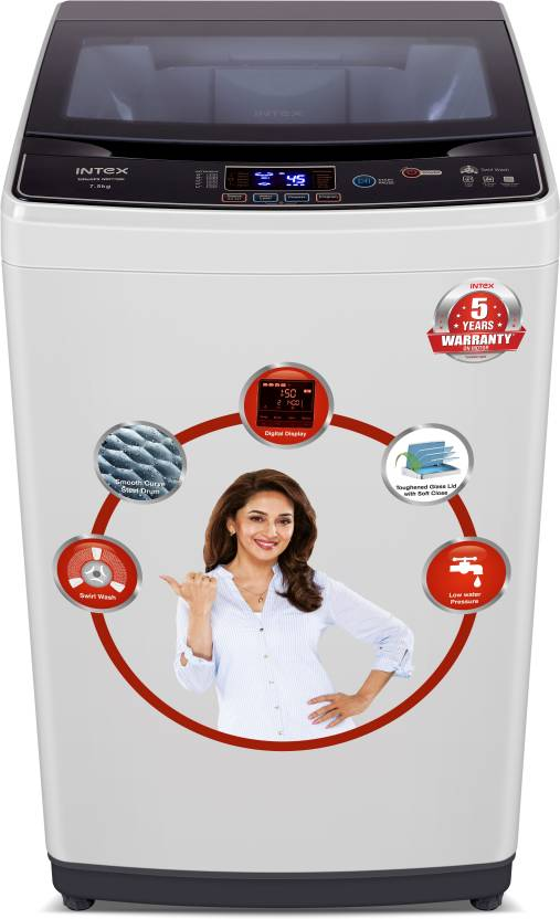 bbef19539caa2f Intex 7.5 kg Fully Automatic Top Load Washing Machine Grey Price in ...