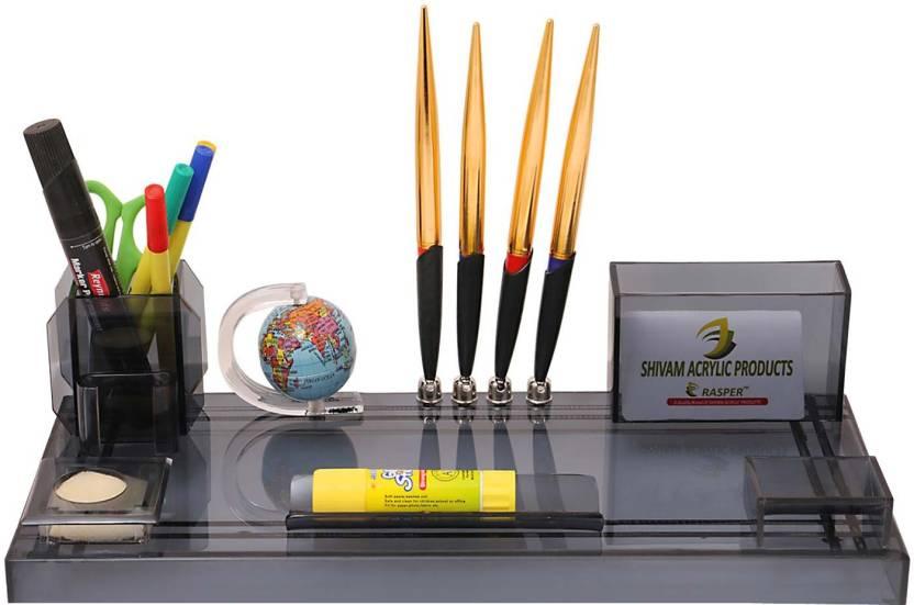 Rasper 4 Compartments Multipurpose Acrylic Pen Stand Desk Organizer With Globe For Office