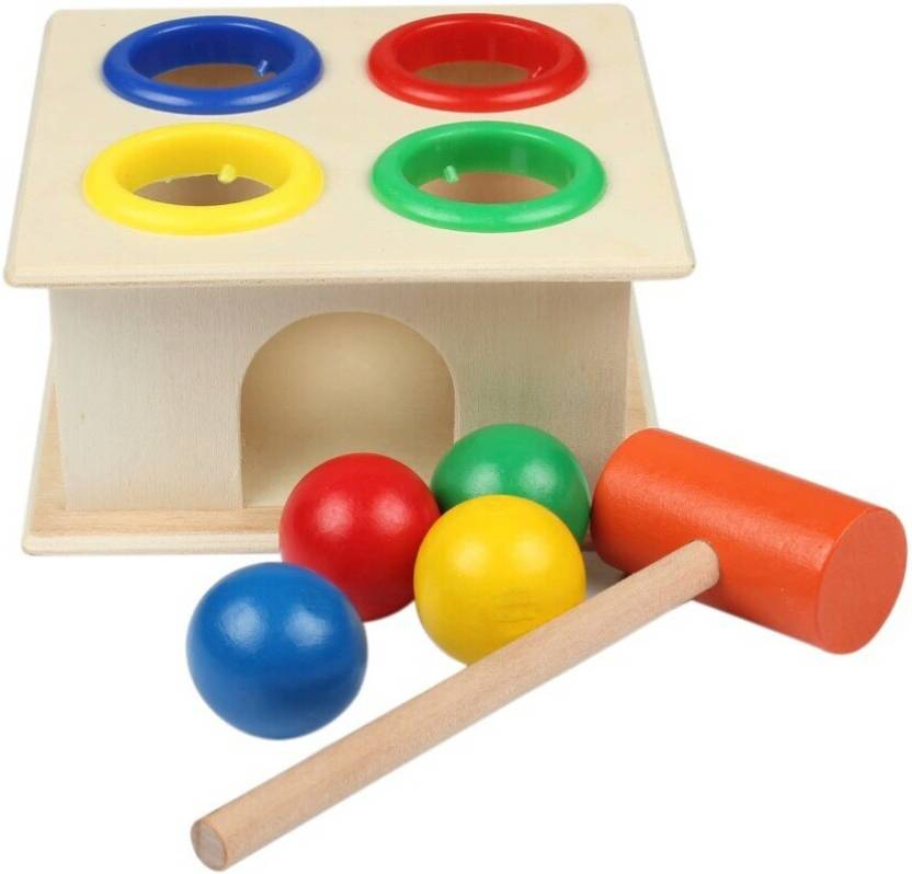 Maraca Colorful Small Wooden Hammer Cartoon Sand Ball Knock Wooden Bell Baby Educational Toys