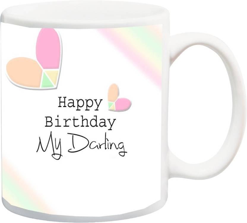 MEYOU Gift For Happy Birthdayhappy Birthday My Darling Husband Hubby Wife Wifey Special Hd Printed Ceramic Mug 325 Ml